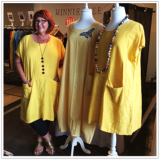 Ettie linen dress in Yellow