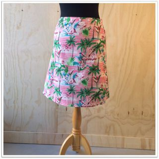 Cotton Snap Wrap skirt - Pink flamingos