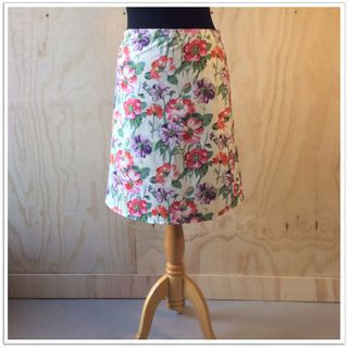 Cotton Snap Wrap skirt - Cream floral
