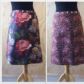 Reversible skirt in grey floral