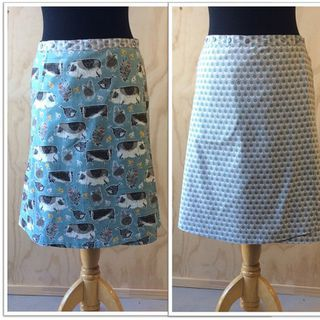 Reversible skirt in farmyard