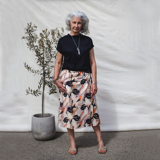 Cotton midi snap wrap skirt - geisha