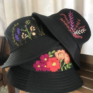 Bucket hat with hand embroidery
