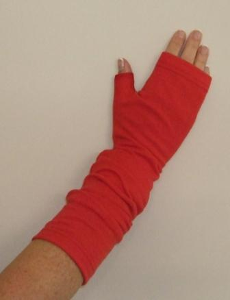 Red Merino Slouchy Fingerless Gloves