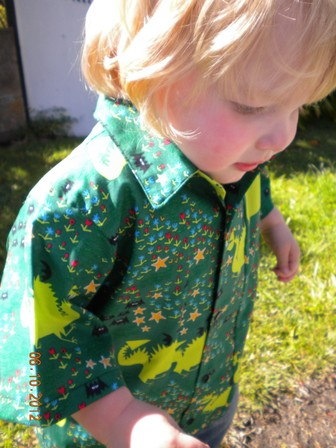 Boys shirt - green dragons size 5-6 years