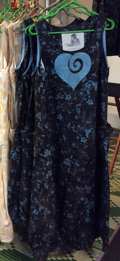 Belle Frock - Charcoal with Blue Koru Heart