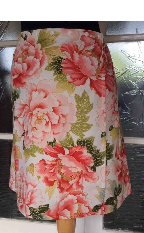 Snap Wrap Skirt - peonies and gold