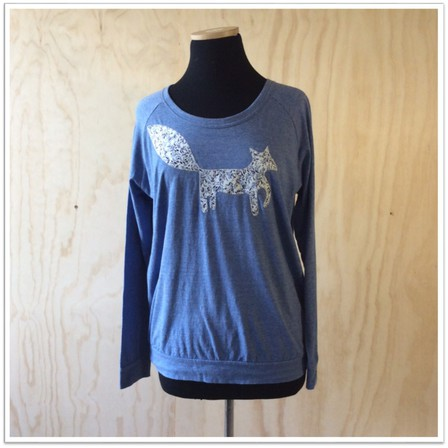 Slouchy Crew Blue with Fox