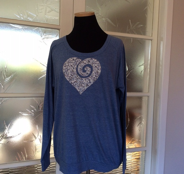 Slouchy Crew Blue with Koru heart