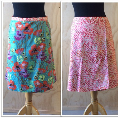 Reversible skirt in Teal poppies