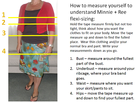 how to measure yourself for Minnie + Ree flexi-sized clothing